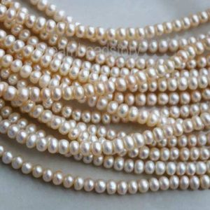 Shop Freshwater Pearls! Pearl Rondelles, Freshwater Pearl Rondelle Beads, Genuine Rondelle Pearls, 5-6mm Natural Cream White Pearl Strands Supplies | Natural genuine beads Pearl beads for beading and jewelry making.  #jewelry #beads #beadedjewelry #diyjewelry #jewelrymaking #beadstore #beading #affiliate #ad