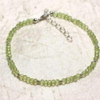 Bracelet 925 Sterling Silver And Stone – Peridot Faceted Rondelles 3mm | Natural genuine Gemstone jewelry. Buy crystal jewelry, handmade handcrafted artisan jewelry for women.  Unique handmade gift ideas. #jewelry #beadedjewelry #beadedjewelry #gift #shopping #handmadejewelry #fashion #style #product #jewelry #affiliate #ad