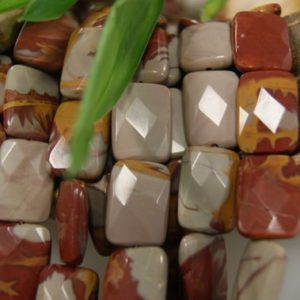 Shop Picture Jasper Faceted Beads! Natural Red Picture Jasper 18x12x5mm 30x21x8mm Faceted Rectangle Gemstone Beads -15.5 inch strand | Natural genuine faceted Picture Jasper beads for beading and jewelry making.  #jewelry #beads #beadedjewelry #diyjewelry #jewelrymaking #beadstore #beading #affiliate #ad