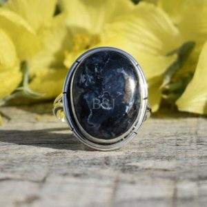 Shop Pietersite Rings! Natural Pietersite Silver Ring, Oval Stone, Blue Stone, Handmade Ring, Artisan Ring, Boho Ring, Dainty Ring, Christmas Gift Ring | Natural genuine Pietersite rings, simple unique handcrafted gemstone rings. #rings #jewelry #shopping #gift #handmade #fashion #style #affiliate #ad