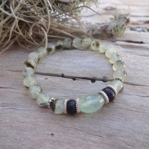 Green Prehnite Bracelet / Heart Chakra jewelry | Natural genuine Prehnite bracelets. Buy crystal jewelry, handmade handcrafted artisan jewelry for women.  Unique handmade gift ideas. #jewelry #beadedbracelets #beadedjewelry #gift #shopping #handmadejewelry #fashion #style #product #bracelets #affiliate #ad