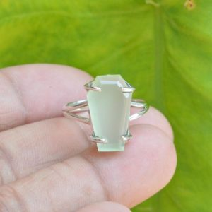 Shop Prehnite Rings! Coffin Ring, Prehnite Chalcedony Ring, Gemstone Ring, 10×17 mm Coffin Prehnite Chalcedony Ring, Silver Rings, Prong Set Ring, Prehnite Ring | Natural genuine Prehnite rings, simple unique handcrafted gemstone rings. #rings #jewelry #shopping #gift #handmade #fashion #style #affiliate #ad