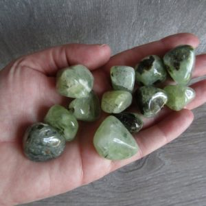Shop Prehnite Stones & Crystals! Prehnite with Epidot Small Tumbled Stone T169 | Natural genuine stones & crystals in various shapes & sizes. Buy raw cut, tumbled, or polished gemstones for making jewelry or crystal healing energy vibration raising reiki stones. #crystals #gemstones #crystalhealing #crystalsandgemstones #energyhealing #affiliate #ad