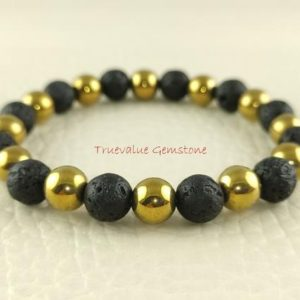Shop Pyrite Bracelets! Gold Pyrite And Black Lava Bracelet, Healing for Men & Women, Willpower, Reliability, Optimism, Protection, Gift for Men And Women 3844 | Natural genuine Pyrite bracelets. Buy handcrafted artisan men's jewelry, gifts for men.  Unique handmade mens fashion accessories. #jewelry #beadedbracelets #beadedjewelry #shopping #gift #handmadejewelry #bracelets #affiliate #ad
