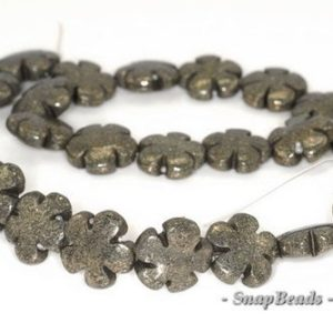 15mm Iron Pyrite Intrusion Gemstone Black Gold Flower Flora Loose Beads 15.5 inch Full Strand (90144893-415) | Natural genuine other-shape Gemstone beads for beading and jewelry making.  #jewelry #beads #beadedjewelry #diyjewelry #jewelrymaking #beadstore #beading #affiliate #ad