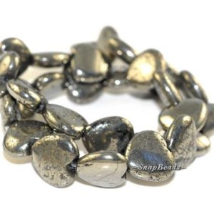 Shop Pyrite Bead Shapes! 16MM LOVE Iron Pyrite Gemstones Love Heart 16MM Loose Beads 16 inch Full Strand (90107045-107) | Natural genuine other-shape Pyrite beads for beading and jewelry making.  #jewelry #beads #beadedjewelry #diyjewelry #jewelrymaking #beadstore #beading #affiliate #ad