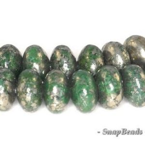 Shop Pyrite Bead Shapes! Iron Pyrite With Intrusion Gemstone Green & Silver Rondele 6x4mm Loose Beads 16 inch Full Strand (90114733-138) | Natural genuine other-shape Pyrite beads for beading and jewelry making.  #jewelry #beads #beadedjewelry #diyjewelry #jewelrymaking #beadstore #beading #affiliate #ad