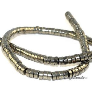 Shop Pyrite Rondelle Beads! 6X3MM Iron Pyrite Gemstones Heishi Rondelle Slice 6X3MM Loose Beads 15.5 inch Full Strand (90107057-409) | Natural genuine rondelle Pyrite beads for beading and jewelry making.  #jewelry #beads #beadedjewelry #diyjewelry #jewelrymaking #beadstore #beading #affiliate #ad