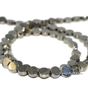 Shop Pyrite Round Beads! 6MM Palazzo Pyrite Gemstone Flat Round Circle Button Coin 6MM Loose Beads 16 inch Full Strand (90107071-417) | Natural genuine round Pyrite beads for beading and jewelry making.  #jewelry #beads #beadedjewelry #diyjewelry #jewelrymaking #beadstore #beading #affiliate #ad