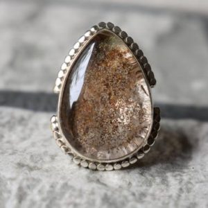 Shop Quartz Crystal Rings! 925 silver natural lodolite ring-natural garden quartz ring-natural quartz-garden quartz ring-lodolite ring-lodolite design ring   Natural genuine Quartz rings, simple unique handcrafted gemstone rings. #rings #jewelry #shopping #gift #handmade #fashion #style #affiliate #ad