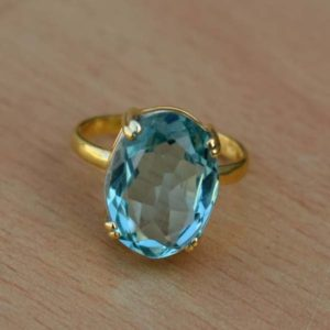 Shop Quartz Crystal Rings! Beautiful Aquamarine Yellow Gold Fill Ring,Prong Set Aqua Ring,Solid 925 Sterling Silver Faceted Quartz Ring,Handmade Birthstone Gift Ring | Natural genuine Quartz rings, simple unique handcrafted gemstone rings. #rings #jewelry #shopping #gift #handmade #fashion #style #affiliate #ad