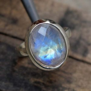 Shop Rainbow Moonstone Rings! Beautiful Natural Blue Flashy Moonstone Ring,Handmade Jewelry,Solid 925 Sterling Silver Rainbow Moonstone Ring,Flashy Rainbow Faceted Ring | Natural genuine Rainbow Moonstone rings, simple unique handcrafted gemstone rings. #rings #jewelry #shopping #gift #handmade #fashion #style #affiliate #ad