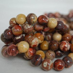 """Shop Rainforest Jasper Beads! High Quality Grade A Natural Birdseye Rhyolite Semi-precious Gemstone Round Beads – 4mm, 6mm, 8mm, 10mm sizes – Approx 15.5"""" strand 