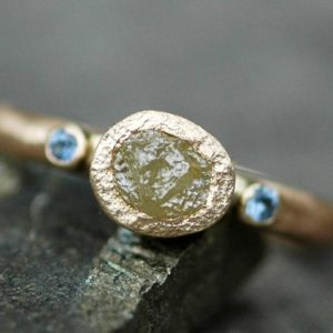 Raw Yellow Diamond, Cornflower Blue Yogo Sapphires, and 14k or 18k Recycled Gold Ring- Made to Order | Natural genuine Yellow Sapphire rings, simple unique handcrafted gemstone rings. #rings #jewelry #shopping #gift #handmade #fashion #style #affiliate #ad