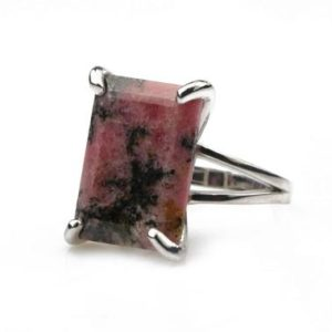 Shop Rhodonite Rings! Pink rhodonite ring,rectangle cut ring,emerald cut ring,silver ring,925 sterling silver gemstone ring,cocktail ring for women,birthday gift | Natural genuine Rhodonite rings, simple unique handcrafted gemstone rings. #rings #jewelry #shopping #gift #handmade #fashion #style #affiliate #ad