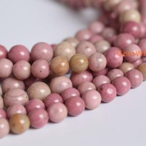 "15.5"" 8mm/10mm pink Rhodonite round beads, natural red semi-precious stone, DIY jewelry supply 