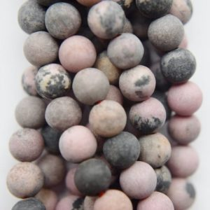 """Shop Rhodonite Round Beads! Genuine Matte Rhodonite Beads, Black Veined Rhodonite – Round 6 mm Gemstone Beads – Full Strand 15 1/2"""", 62 beads, A Quality 