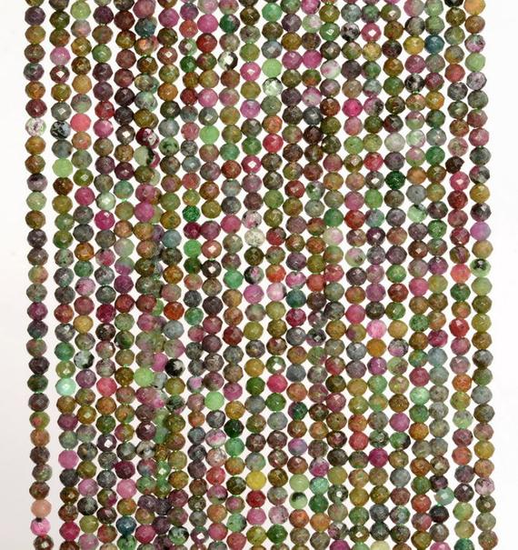 2mm Genuine Brazil Ruby Zoisite Gemstone Grade Aaa Multi Color Micro Faceted Round Loose Beads 15.5 Inch Full Strand (80004633-344)