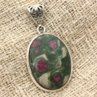 N1 – 925 Sterling Silver Pendant And Stone – Ruby Zoisite Oval 29x21mm | Natural genuine Gemstone jewelry. Buy crystal jewelry, handmade handcrafted artisan jewelry for women.  Unique handmade gift ideas. #jewelry #beadedjewelry #beadedjewelry #gift #shopping #handmadejewelry #fashion #style #product #jewelry #affiliate #ad