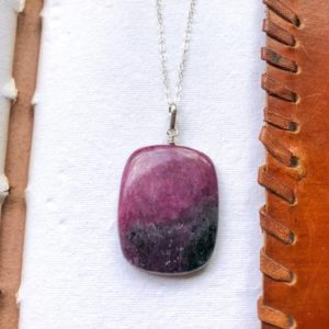 Shop Ruby Zoisite Pendants! Ruby Zoisite pendant, Square shaped Natural Ruby Zoisite sterling silver pendant, Watermelon Ruby, Large Ruby pendant, Ruby silver jewelry | Natural genuine Ruby Zoisite pendants. Buy crystal jewelry, handmade handcrafted artisan jewelry for women.  Unique handmade gift ideas. #jewelry #beadedpendants #beadedjewelry #gift #shopping #handmadejewelry #fashion #style #product #pendants #affiliate #ad