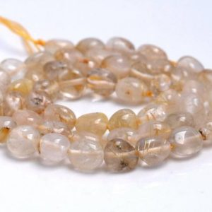 Shop Rutilated Quartz Chip & Nugget Beads! 6-7MM Golden Rutilated Quartz Gemstone Pebble Nugget Granule Loose Beads 16 inch Full Strand (80001929-A33) | Natural genuine chip Rutilated Quartz beads for beading and jewelry making.  #jewelry #beads #beadedjewelry #diyjewelry #jewelrymaking #beadstore #beading #affiliate #ad