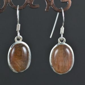 Shop Rutilated Quartz Earrings! Sterling Silver Red Rutilated Quartz Earrings | Natural genuine Rutilated Quartz earrings. Buy crystal jewelry, handmade handcrafted artisan jewelry for women.  Unique handmade gift ideas. #jewelry #beadedearrings #beadedjewelry #gift #shopping #handmadejewelry #fashion #style #product #earrings #affiliate #ad