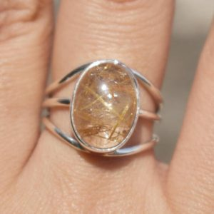Shop Rutilated Quartz Rings! Natural Yellow Rutile Ring,Solid 925 Sterling Silver Designer Ring,Handmade Jewelry,Yellow Rutile Ring,Gift for her,Golden Rutile Quartz | Natural genuine Rutilated Quartz rings, simple unique handcrafted gemstone rings. #rings #jewelry #shopping #gift #handmade #fashion #style #affiliate #ad