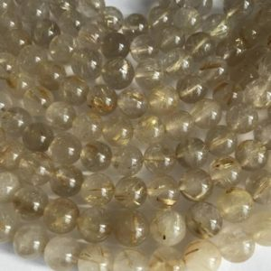 "Shop Rutilated Quartz Round Beads! Natural Rutilated Quartz 7mm 9mm 11mm Round Gemstone Beads -7.5""– 