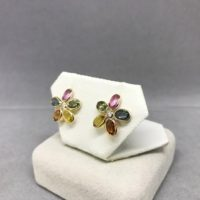 14k Yellow Gold Natural Sapphire (5.70 Ct) Floral Diamond Earrings, Appraised 2, 900 Cad | Natural genuine Gemstone jewelry. Buy crystal jewelry, handmade handcrafted artisan jewelry for women.  Unique handmade gift ideas. #jewelry #beadedjewelry #beadedjewelry #gift #shopping #handmadejewelry #fashion #style #product #jewelry #affiliate #ad