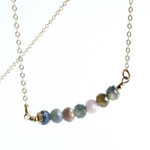 Shop Sapphire Necklaces! Sapphire Bar Necklace Gold Filled wire wrapped multi color gemstone modern layering raw stone choker September birthstone holiday gift 5155 | Natural genuine Sapphire necklaces. Buy crystal jewelry, handmade handcrafted artisan jewelry for women.  Unique handmade gift ideas. #jewelry #beadednecklaces #beadedjewelry #gift #shopping #handmadejewelry #fashion #style #product #necklaces #affiliate #ad