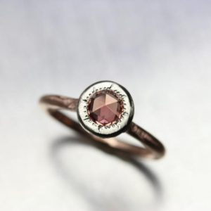 Clear Rose Cut Sapphire Engagement Ring Orange Peach Pink 14K Rose White Gold Elegant Minimalistic Sunshine Unique Bridal Band – Solar Flare | Natural genuine Gemstone rings, simple unique alternative gemstone engagement rings. #rings #jewelry #bridal #wedding #jewelryaccessories #engagementrings #weddingideas #affiliate #ad