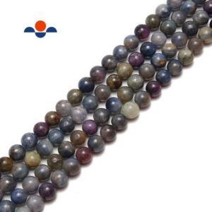 "Shop Sapphire Round Beads! Multi Color Sapphire Smooth Round Loose Beads Size 6mm 8mm 10mm 15.5"" Strand 