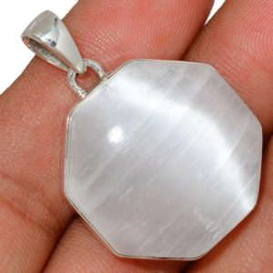 Shop Selenite Necklaces! Very Beautiful Selenite Necklace, 925 Silver, Octogan | Natural genuine Selenite necklaces. Buy crystal jewelry, handmade handcrafted artisan jewelry for women.  Unique handmade gift ideas. #jewelry #beadednecklaces #beadedjewelry #gift #shopping #handmadejewelry #fashion #style #product #necklaces #affiliate #ad