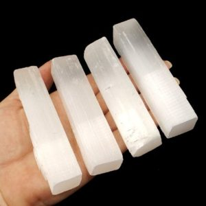 """Shop Selenite Points & Wands! 4"""" Selenite Stick Wands – 4pcs, Goddess Crystal, Moon Energy, Crystal Healing 