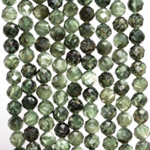Shop Seraphinite Beads! 6mm Genuine Russian Seraphinite Gemstone Grade AAA Green Micro Faceted Round Loose Beads 7.5 inch Half Strand (80006535 H-889) | Natural genuine faceted Seraphinite beads for beading and jewelry making.  #jewelry #beads #beadedjewelry #diyjewelry #jewelrymaking #beadstore #beading #affiliate #ad