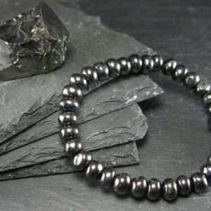 Shop Shungite Bracelets! Shungite Genuine Bracelet ~ 7 Inches ~ 8mm Rondelle Beads | Natural genuine Shungite bracelets. Buy crystal jewelry, handmade handcrafted artisan jewelry for women.  Unique handmade gift ideas. #jewelry #beadedbracelets #beadedjewelry #gift #shopping #handmadejewelry #fashion #style #product #bracelets #affiliate #ad