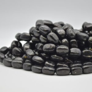 "Shop Shungite Beads! High Quality Grade A Natural Shungite Semi-precious Gemstone Pebble Tumbled stone Nugget Beads approx 10mm – 12mm – 15.5"" strand 