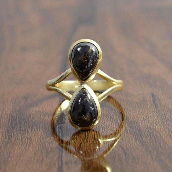Shungite Ring, Exquisite Shungite Copper Gemstone Ring, 18k Gold Plated Stackable Ring, Sterling Silver Ring, Black Gemstone Ring For Her