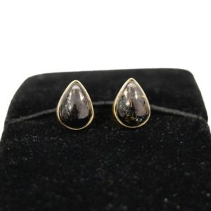 Shop Shungite Earrings! Shungite Studs, Copper Shungite Gemstone Stud Earrings, 18k Gold Plated Teardrop Studs, Black Gemstone Studs, Fine Sterling Silver Studs | Natural genuine Shungite earrings. Buy crystal jewelry, handmade handcrafted artisan jewelry for women.  Unique handmade gift ideas. #jewelry #beadedearrings #beadedjewelry #gift #shopping #handmadejewelry #fashion #style #product #earrings #affiliate #ad