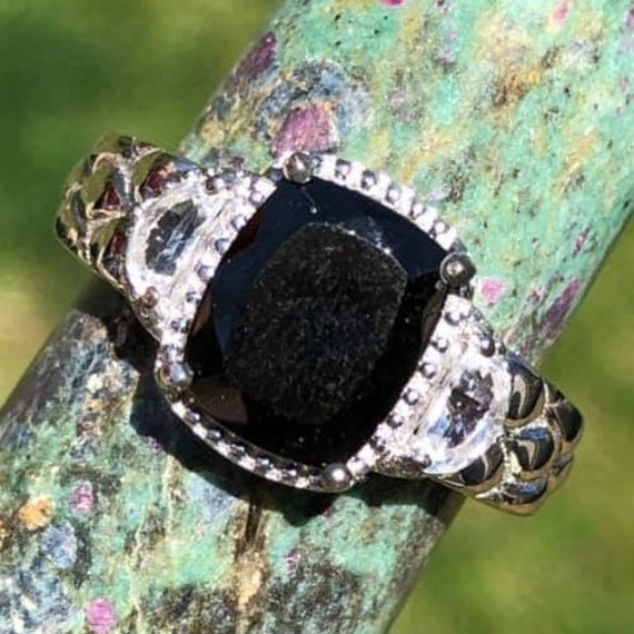 Shungite With White Topaz Sterling Silver Ring