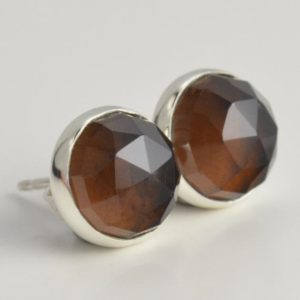 Shop Smoky Quartz Earrings! smoky quartz 8mm rose cut sterling silver stud earrings pair | Natural genuine Smoky Quartz earrings. Buy crystal jewelry, handmade handcrafted artisan jewelry for women.  Unique handmade gift ideas. #jewelry #beadedearrings #beadedjewelry #gift #shopping #handmadejewelry #fashion #style #product #earrings #affiliate #ad