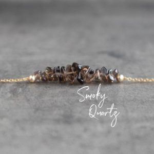 Shop Smoky Quartz Necklaces! Smoky Quartz Necklace,  Raw Crystal Necklace, Raw Smoky Quartz Jewelry, Necklaces for Women, Gift for Her, Healing Crystal Chip Necklace | Natural genuine Smoky Quartz necklaces. Buy crystal jewelry, handmade handcrafted artisan jewelry for women.  Unique handmade gift ideas. #jewelry #beadednecklaces #beadedjewelry #gift #shopping #handmadejewelry #fashion #style #product #necklaces #affiliate #ad