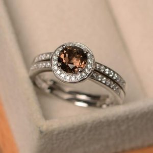 Shop Smoky Quartz Rings! Smoky quartz ring, engagement ring silver, brown gemstone ring, round shape halo ring, proposal ring with band | Natural genuine Smoky Quartz rings, simple unique alternative gemstone engagement rings. #rings #jewelry #bridal #wedding #jewelryaccessories #engagementrings #weddingideas #affiliate #ad