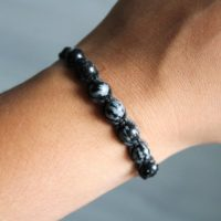Snowflake Obsidian Bracelet | Natural genuine Gemstone jewelry. Buy crystal jewelry, handmade handcrafted artisan jewelry for women.  Unique handmade gift ideas. #jewelry #beadedjewelry #beadedjewelry #gift #shopping #handmadejewelry #fashion #style #product #jewelry #affiliate #ad