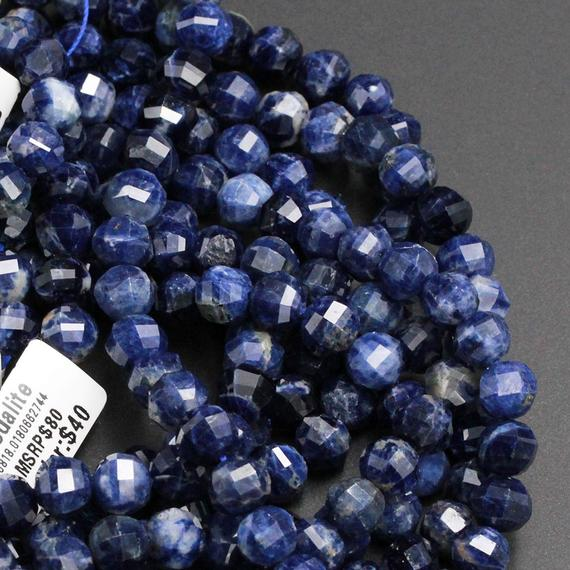 """Geometric Lantern Faceted Natural Blue Sodalite 8mm 10mm Round Sparkling Gemstone Good For Earring Pair Bead 15.5"""" Strand"""