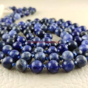 Sodalite Mala Necklace, Be Confident Mala, Protection, Self-confidence, Inner Power, Mala Beads, 108 Bead Hand Knotted Silk, 3966 | Natural genuine Gemstone necklaces. Buy crystal jewelry, handmade handcrafted artisan jewelry for women.  Unique handmade gift ideas. #jewelry #beadednecklaces #beadedjewelry #gift #shopping #handmadejewelry #fashion #style #product #necklaces #affiliate #ad