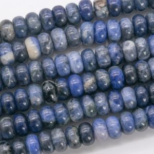 Shop Sodalite Rondelle Beads! Genuine Natural Blue Sodalite Loose Beads Rondelle Shape 10x6MM | Natural genuine rondelle Sodalite beads for beading and jewelry making.  #jewelry #beads #beadedjewelry #diyjewelry #jewelrymaking #beadstore #beading #affiliate #ad
