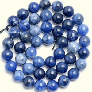 Shop Sodalite Round Beads! 10 Strands 10mm Blueberry Sodalite Gemstone Grade Aa Blue Round Loose Beads 15.5 Inch Full Strand Bulk Lot (90186308-729 X10) | Natural genuine round Sodalite beads for beading and jewelry making.  #jewelry #beads #beadedjewelry #diyjewelry #jewelrymaking #beadstore #beading #affiliate #ad