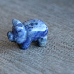 Sodalite Pig Stone Animal Figurine F211 | Natural genuine stones & crystals in various shapes & sizes. Buy raw cut, tumbled, or polished gemstones for making jewelry or crystal healing energy vibration raising reiki stones. #crystals #gemstones #crystalhealing #crystalsandgemstones #energyhealing #affiliate #ad