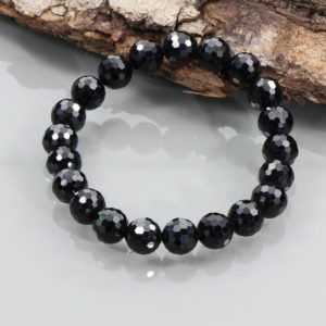 Shop Spinel Bracelets! 8mm Black Spinel Gemstone Bracelet, Black Spinel Beaded Bracelet, Spinel Bracelet, Spinel Jewelry, Natural Black Spinel, Birthday Gift | Natural genuine Spinel bracelets. Buy crystal jewelry, handmade handcrafted artisan jewelry for women.  Unique handmade gift ideas. #jewelry #beadedbracelets #beadedjewelry #gift #shopping #handmadejewelry #fashion #style #product #bracelets #affiliate #ad